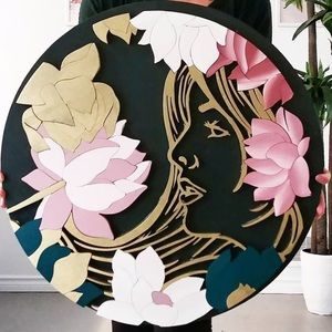 """24"""" round, golden lady with lotus"""